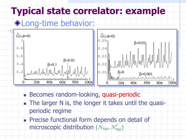 Typical state correlator: example