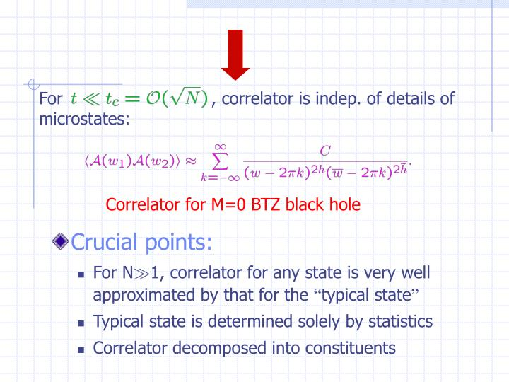 For                            , correlator is indep. of details of microstates: