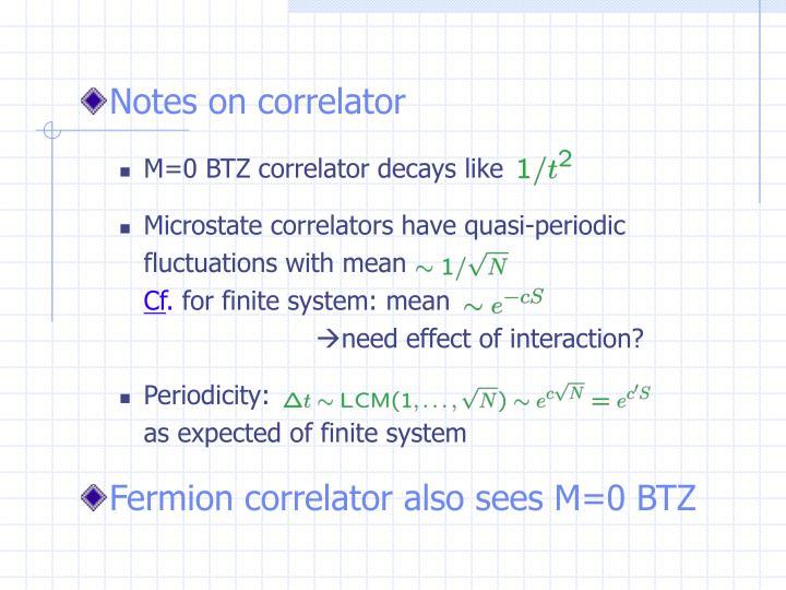 Notes on correlator