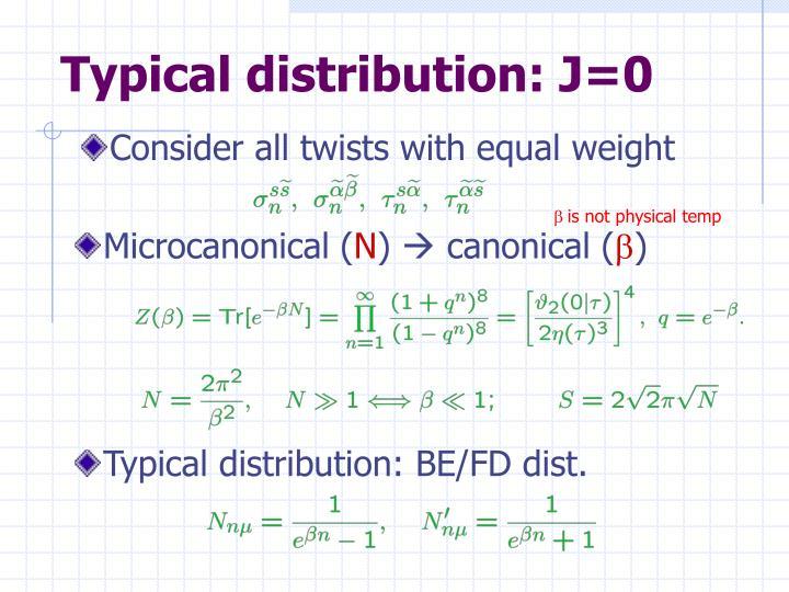 Typical distribution: J=0