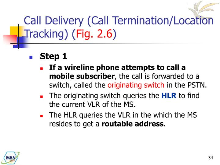 Call Delivery (Call Termination/Location Tracking) (