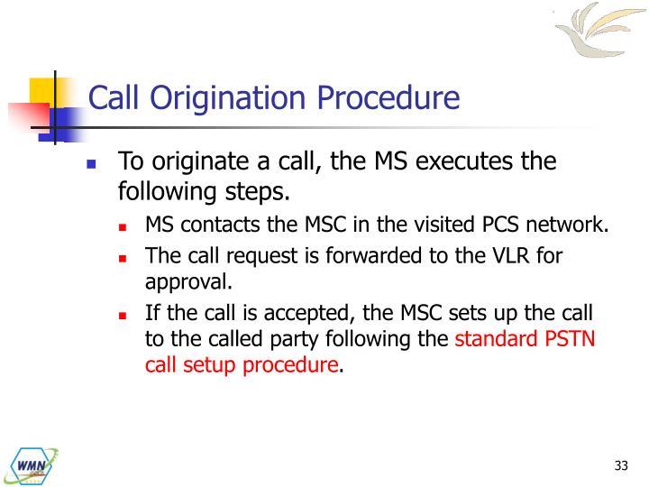 Call Origination Procedure