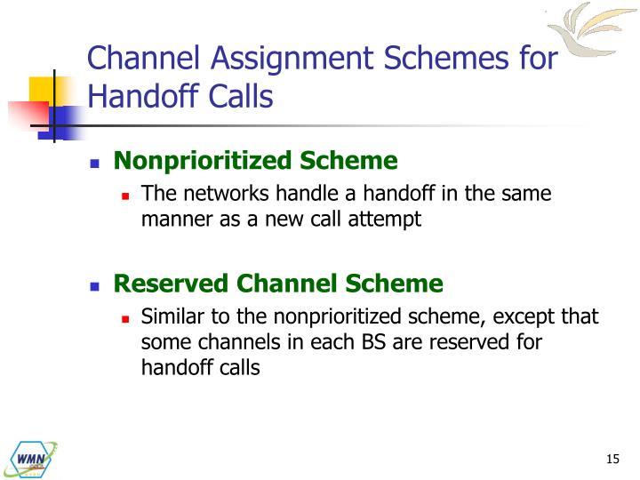 Channel Assignment Schemes for Handoff Calls