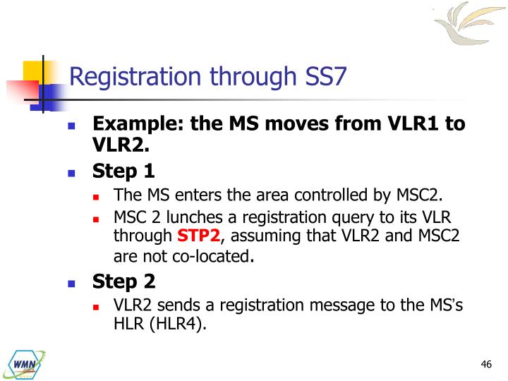Registration through SS7