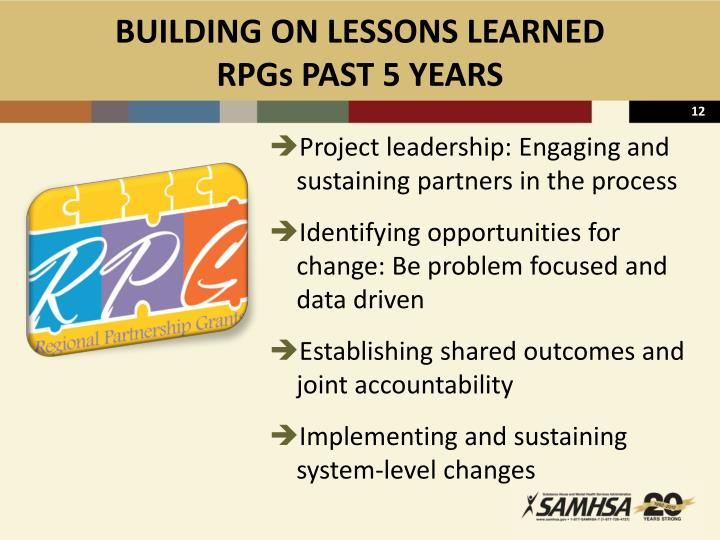 BUILDING ON LESSONS LEARNED
