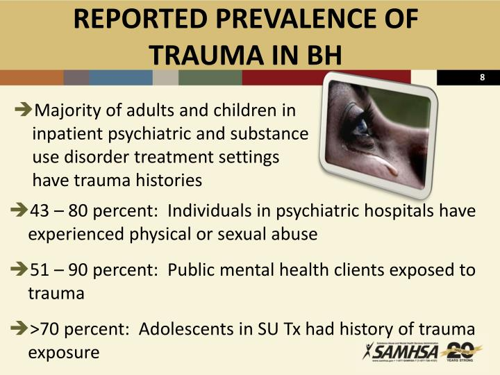 REPORTED PREVALENCE OF TRAUMA IN BH