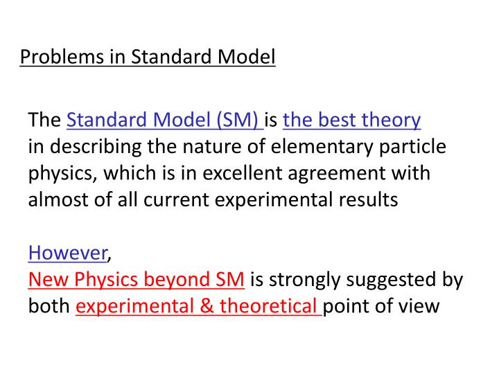 Problems in Standard Model