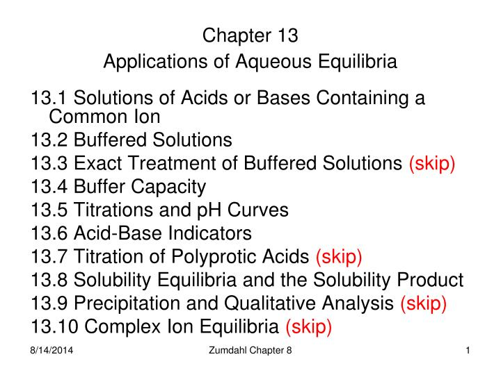 chapter 13 applications of aqueous equilibria n.