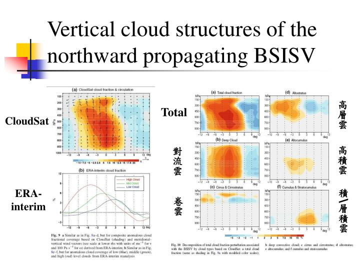 Vertical cloud structures of the northward propagating BSISV