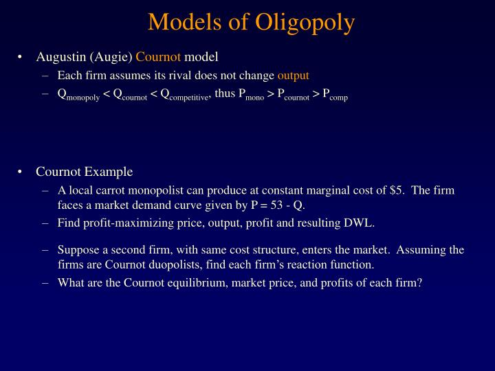 microeconomic theory price policy in oligopoly essay