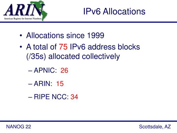IPv6 Allocations