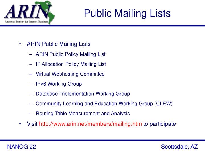 Public Mailing Lists