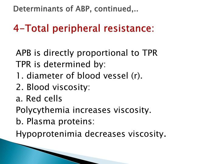 Determinants of ABP, continued,..