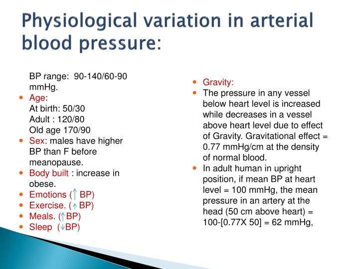 Physiological variation in arterial blood pressure