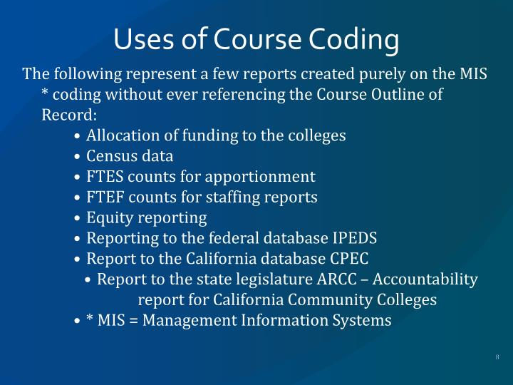 Uses of Course Coding