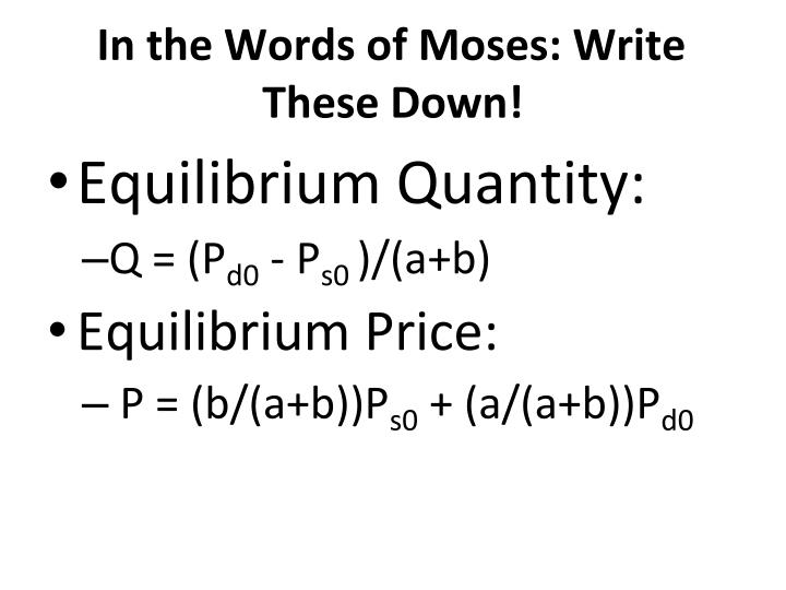 In the Words of Moses: Write These Down!