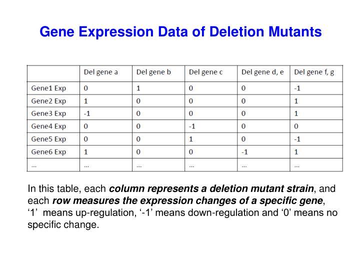 Gene Expression Data of Deletion Mutants
