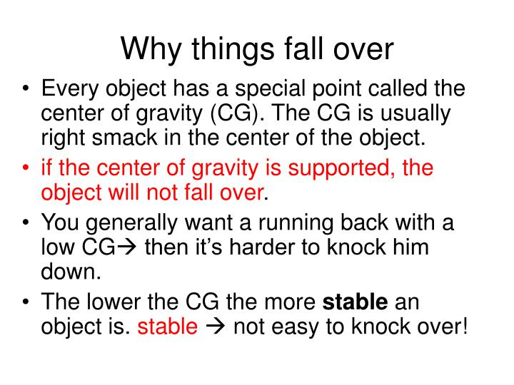 Why things fall over