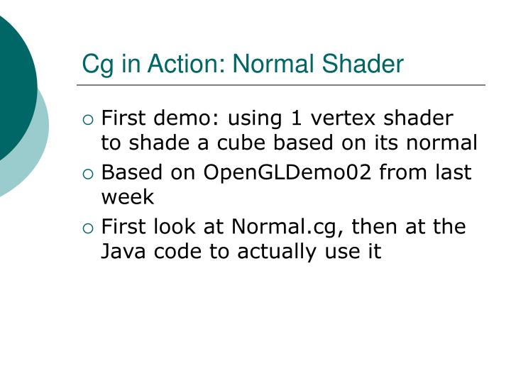 Cg in Action: Normal Shader