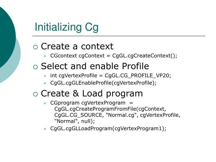 Initializing Cg