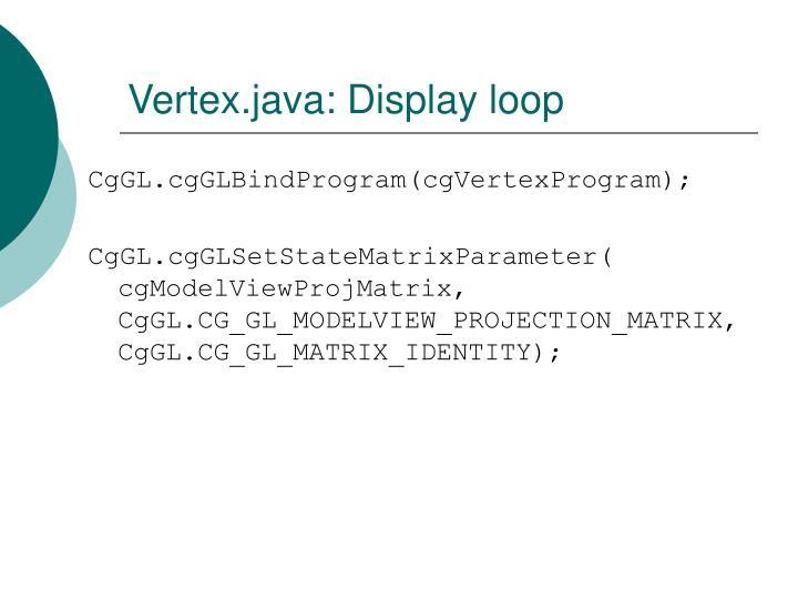 Vertex.java: Display loop