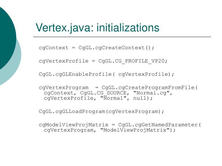 Vertex.java: initializations