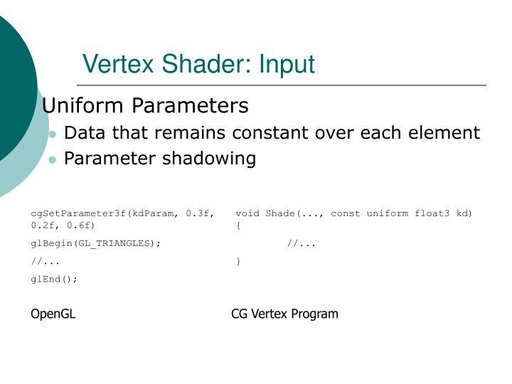 Vertex Shader: Input