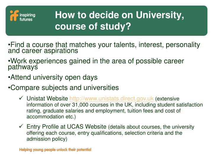 Find a course that matches your talents, interest, personality and career aspirations
