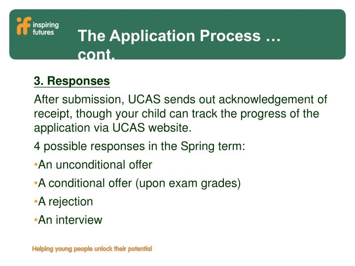 The Application Process … cont.