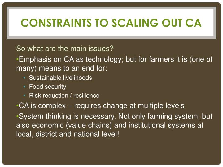 Constraints to scaling out ca