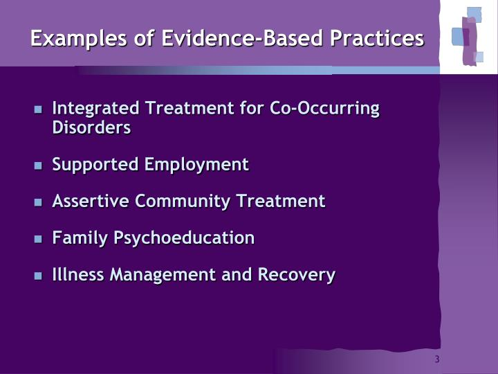 Examples of evidence based practices