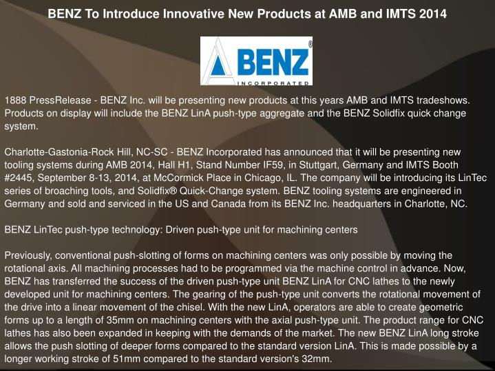 tooling expert benz inc presenting new