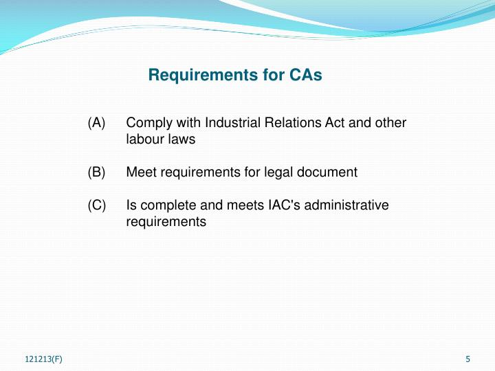 Requirements for CAs