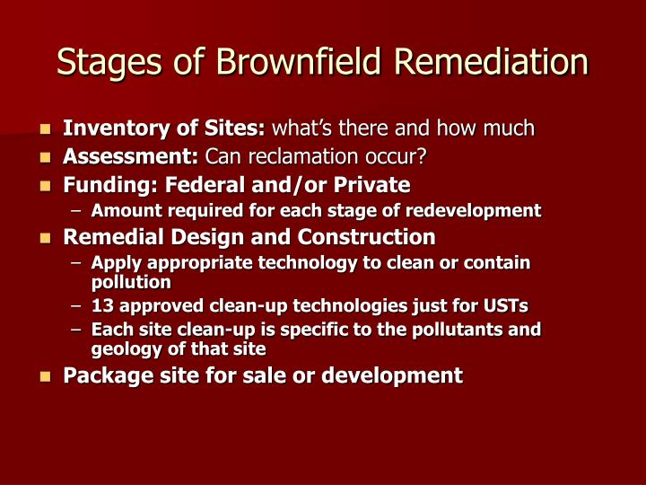 Stages of Brownfield Remediation
