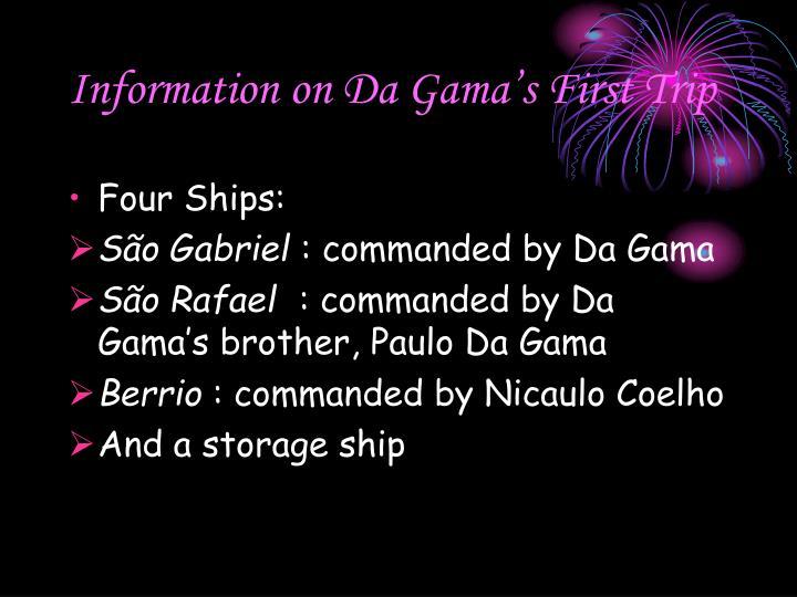Information on Da Gama's First Trip