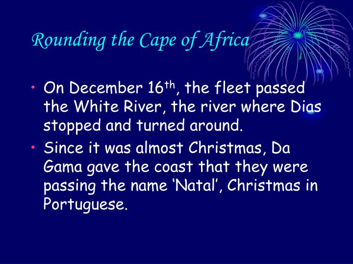 Rounding the Cape of Africa