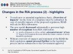 changes in the ria process 2 highlights