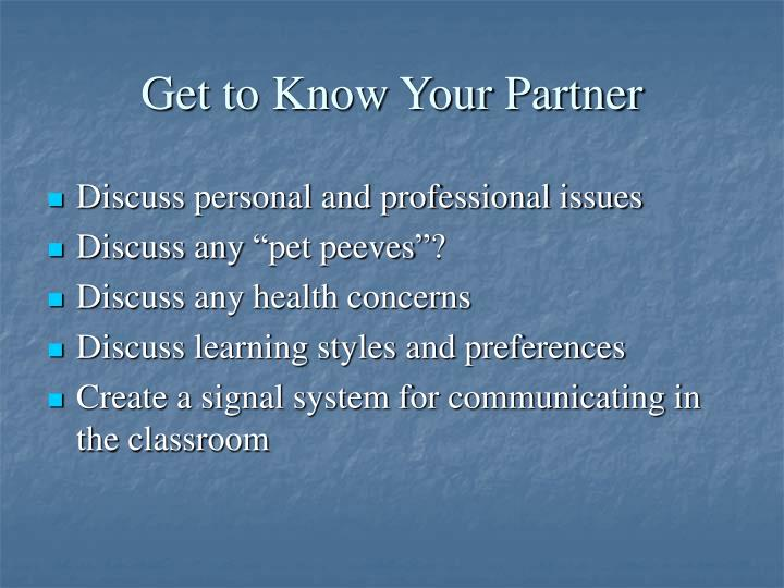 Get to Know Your Partner