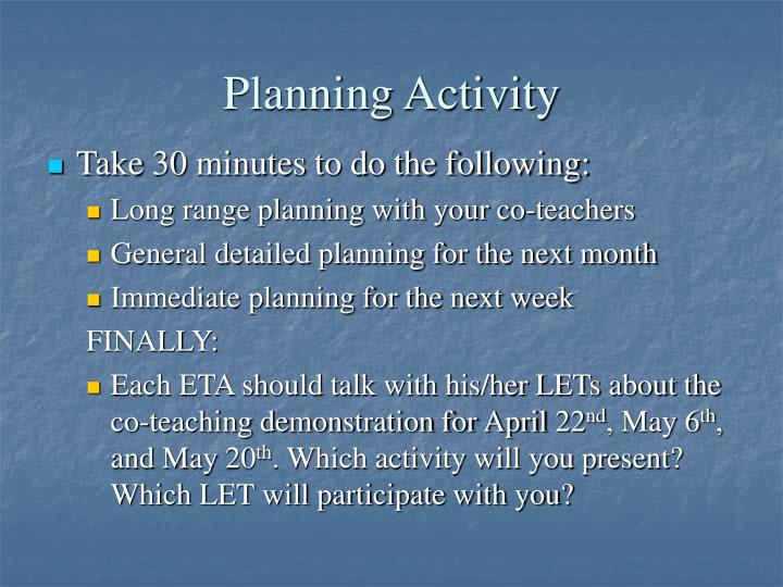 Planning Activity