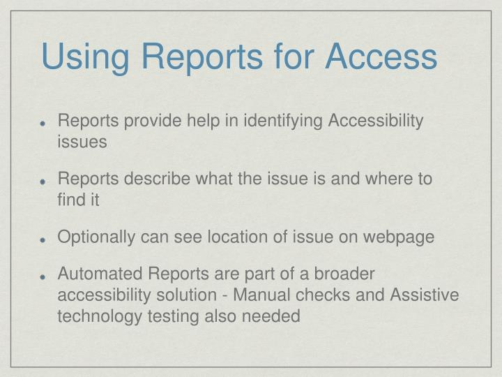 Using Reports for Access