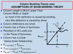 column buckling theory uses assumptions of beam bending theory