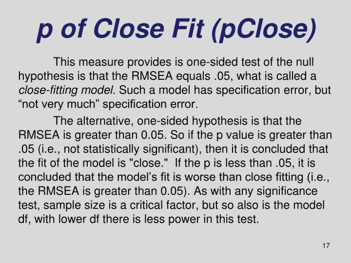p of Close Fit (pClose)