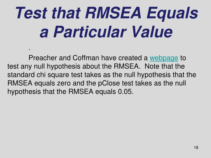 Test that RMSEA Equals a Particular Value