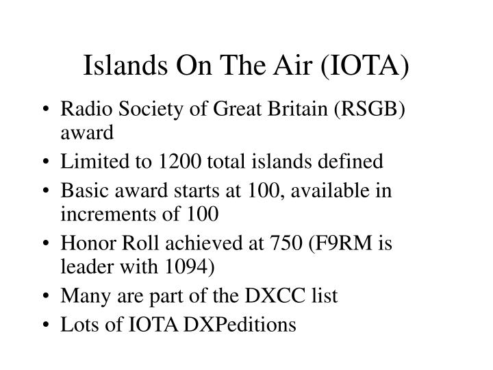 Islands On The Air (IOTA)