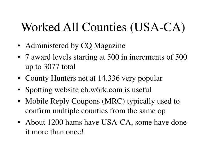 Worked All Counties (USA-CA)