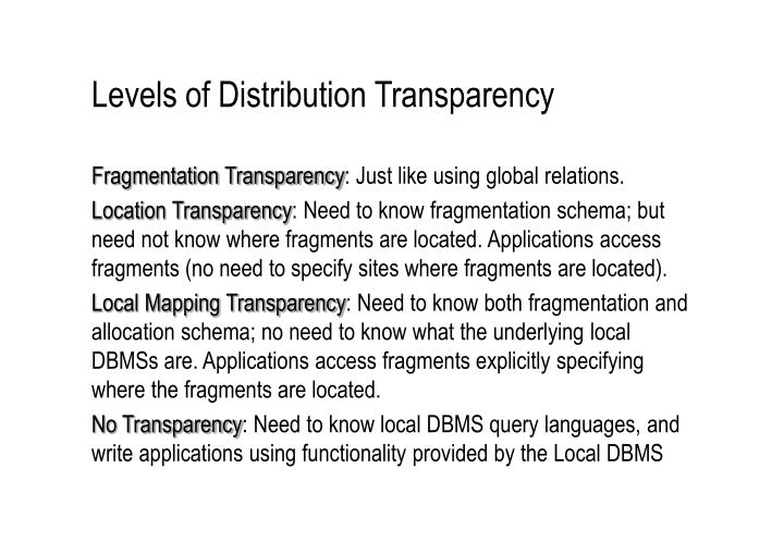 Levels of Distribution Transparency