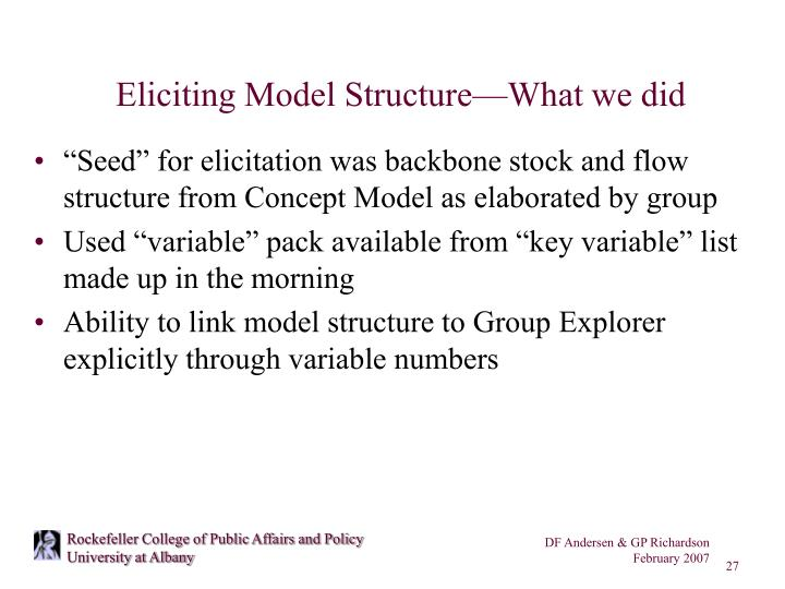 Eliciting Model Structure—What we did