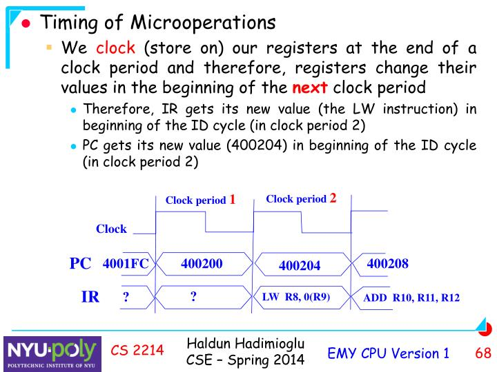 Timing of Microoperations