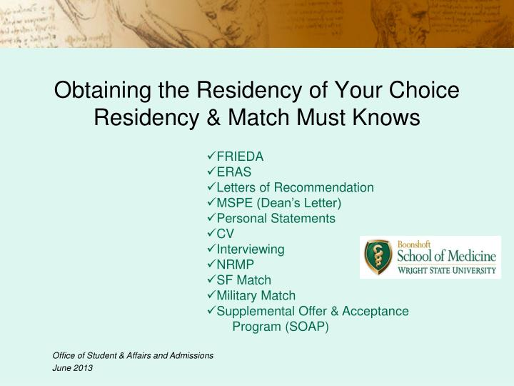 obtaining the residency of your choice residency match must knows n.