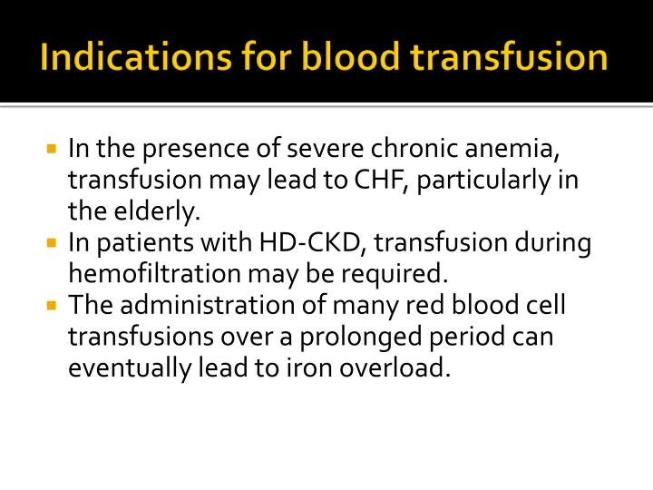 Indications for blood transfusion